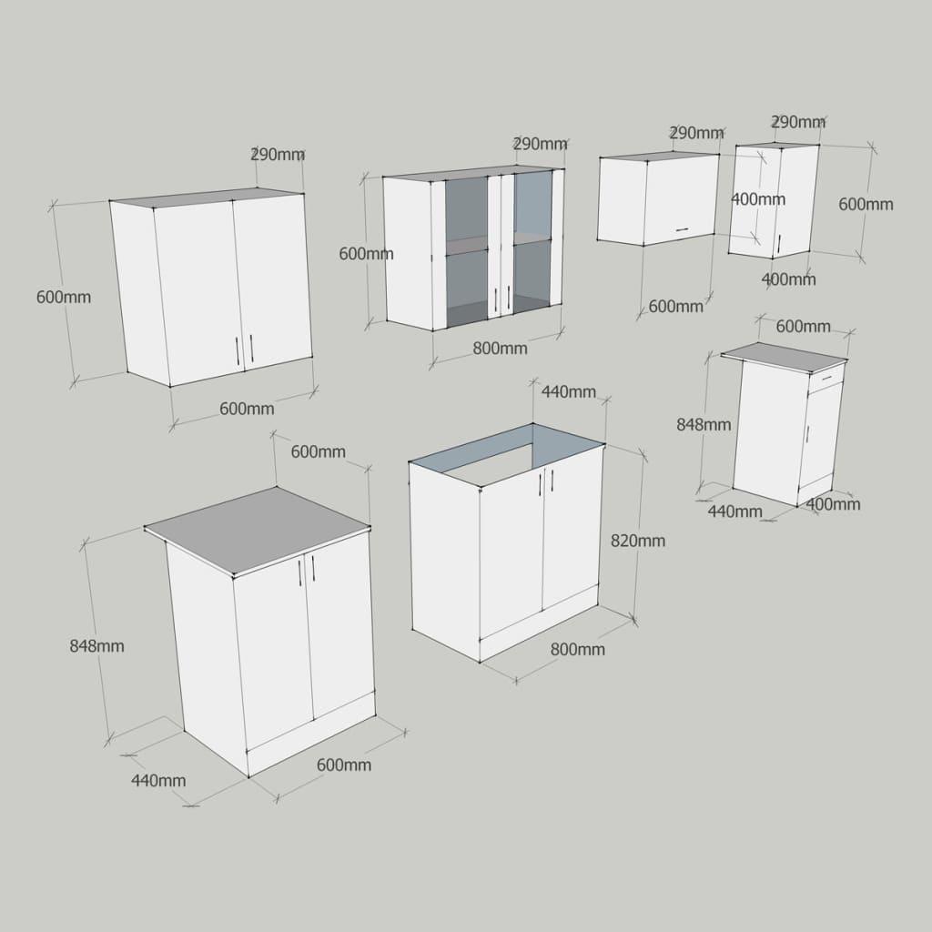 Cucina componibile 2.4m mobili arreda da cucina marrone | vidaXL.it