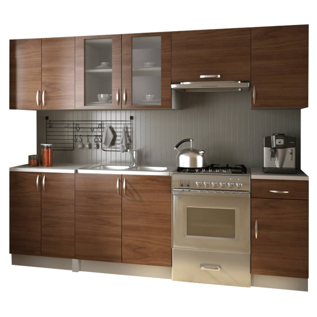 einbauk che 240 cm k chenzeile k che kitchen set k chenblock hellbraun. Black Bedroom Furniture Sets. Home Design Ideas