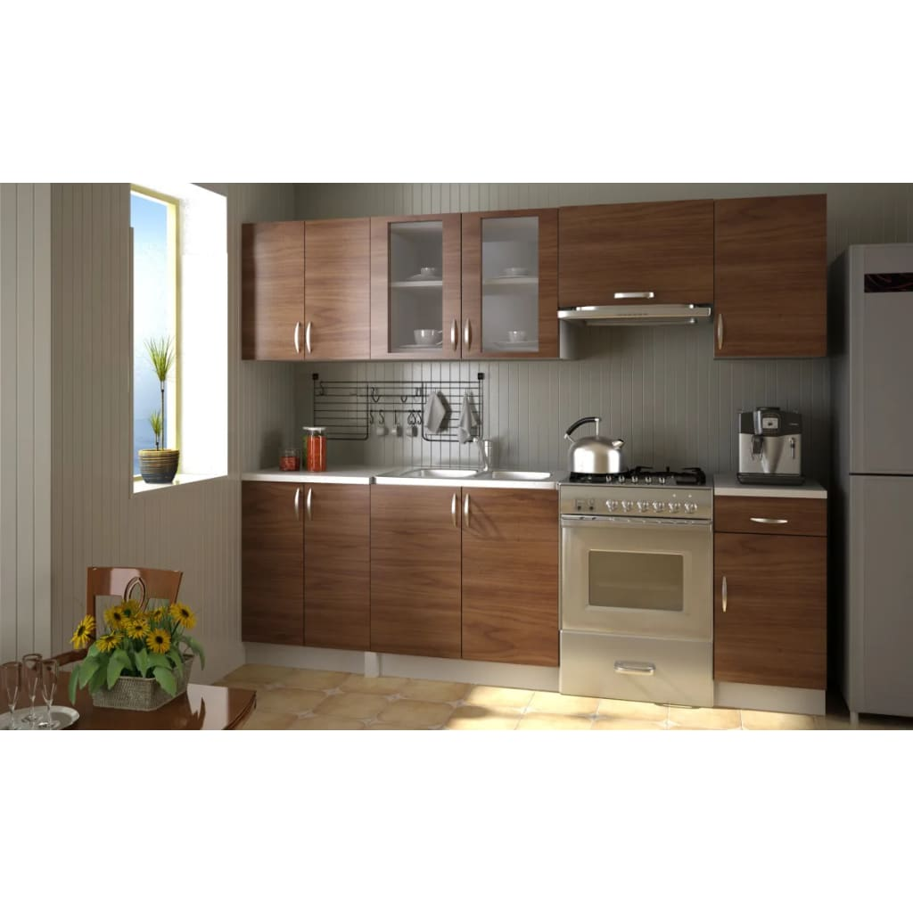 der einbauk che 240 cm k chenzeile k che kitchen set k chenblock hellbraun online shop. Black Bedroom Furniture Sets. Home Design Ideas