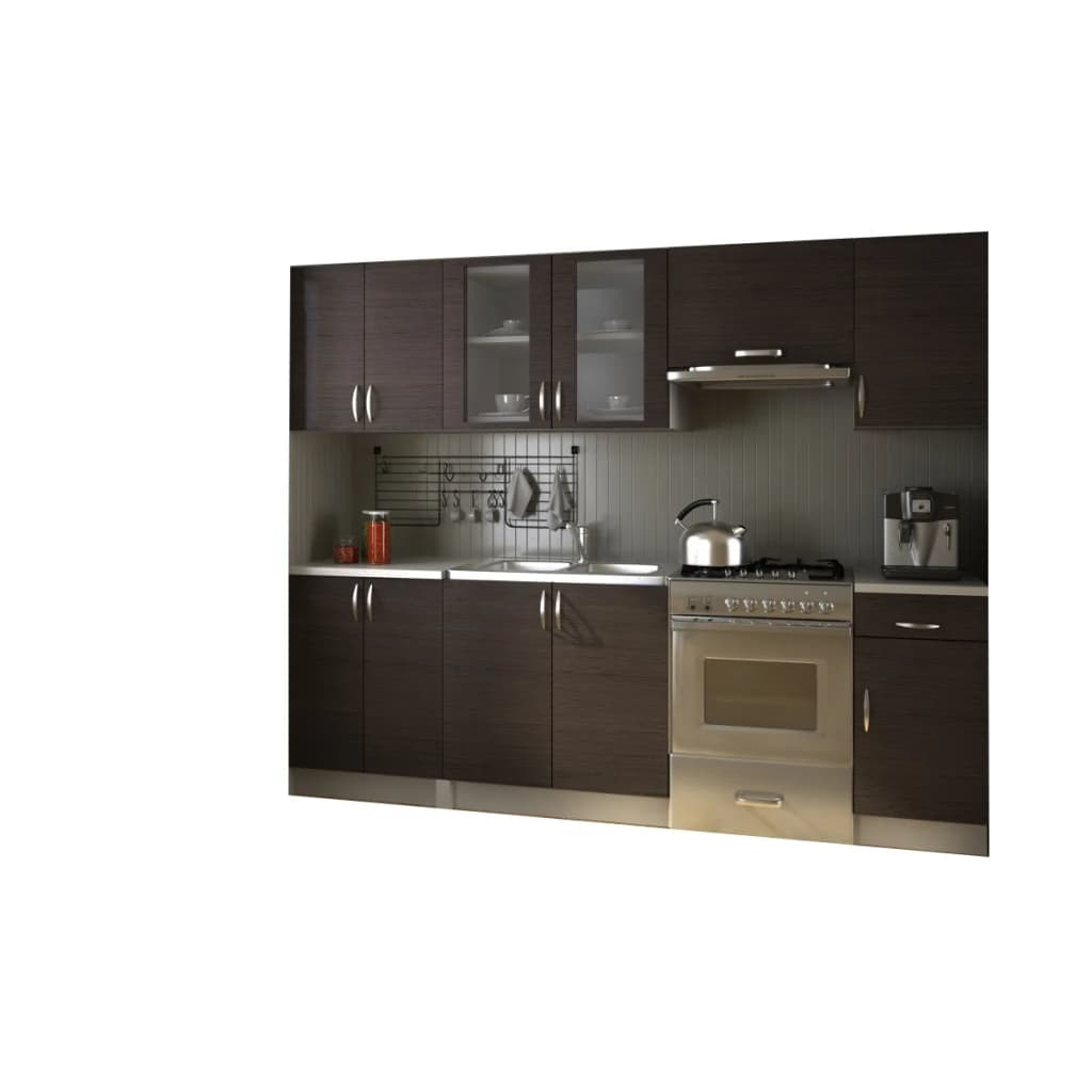 Kitchen cabinet unit set 2 4m walnut dark brown for Kitchen cabinet sets