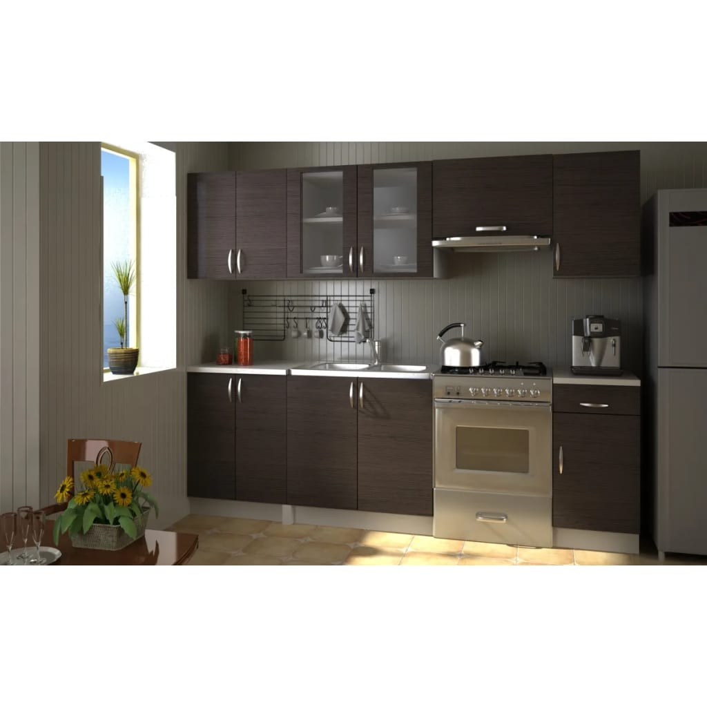 Kitchen cabinet unit set 2 4m walnut dark brown for Kitchen unit set