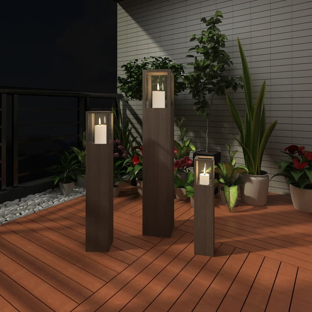 garden candle stand set 3 pcs outdoor