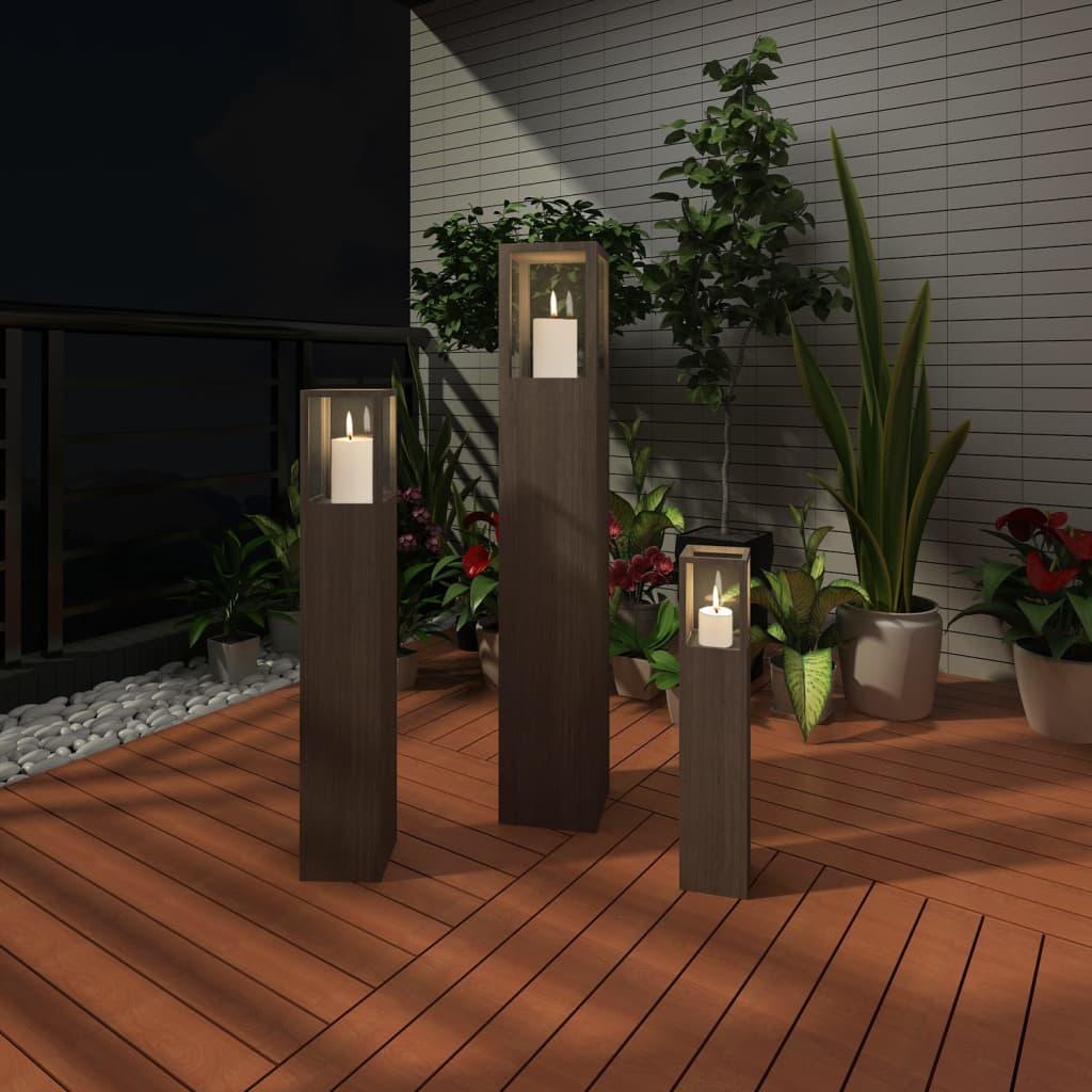 Garden candle stand set 3 pcs outdoor lighting torch for Lanterne deco exterieur