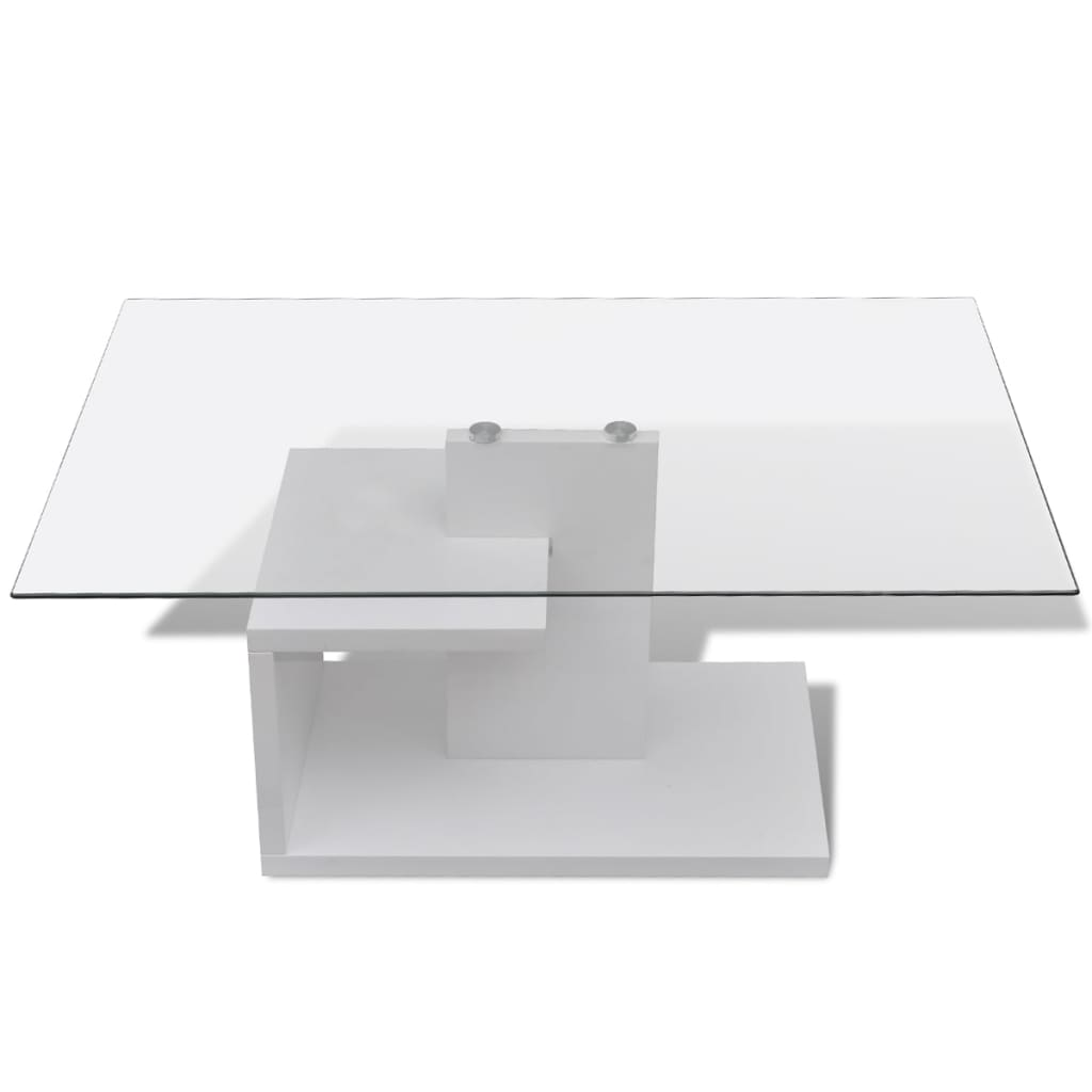 Tempered glass top coffee table rectangular for Rectangular coffee table with glass top