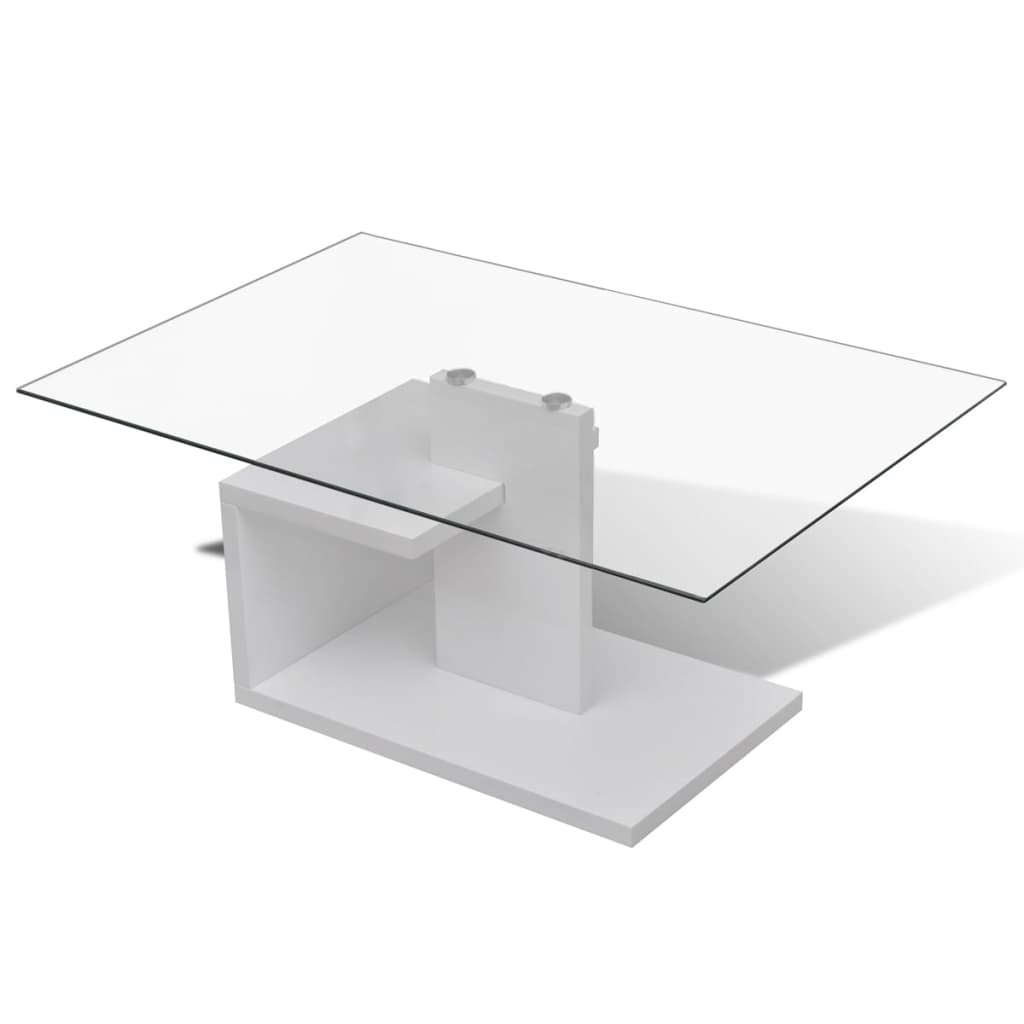 Tempered Glass Top Coffee Table Rectangular White