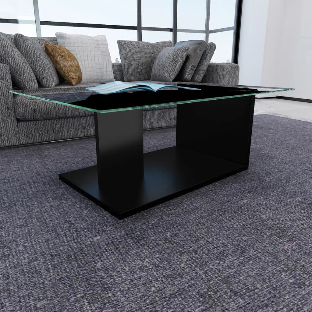 acheter table basse design simple en verre tremp noire. Black Bedroom Furniture Sets. Home Design Ideas