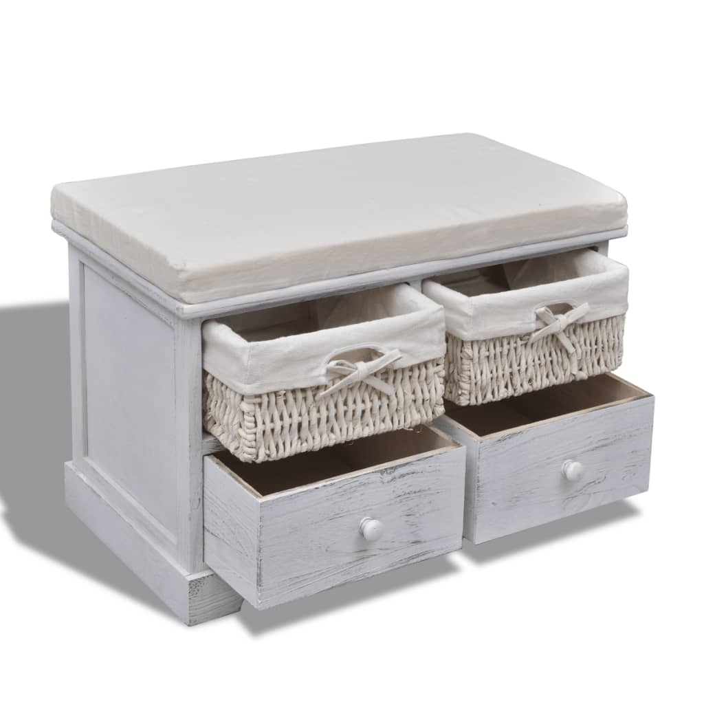 White Wooden Storage Bench 2 Weaving Baskets 2 Drawers