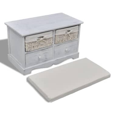 acheter banc de rangement blanc en bois avec 2 paniers de. Black Bedroom Furniture Sets. Home Design Ideas