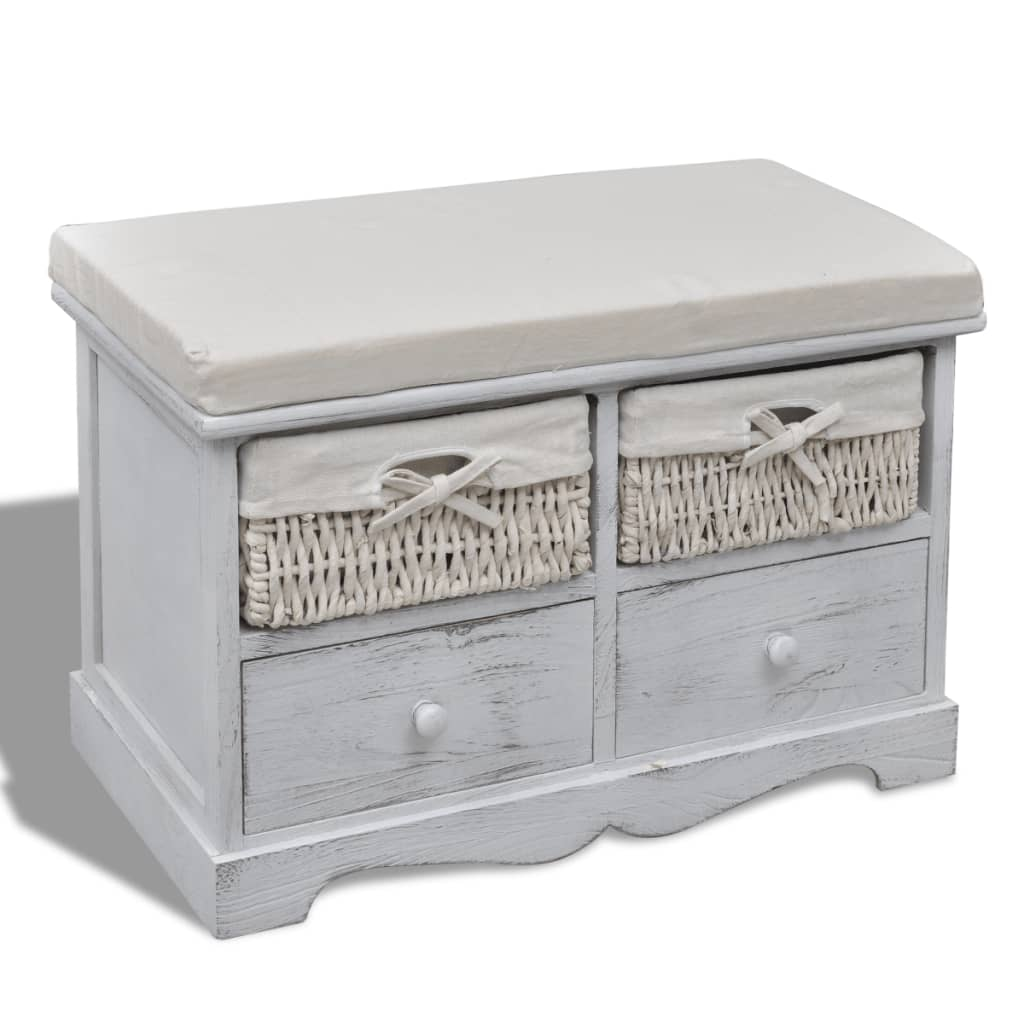 white wooden storage bench 2 weaving baskets 2 drawers. Black Bedroom Furniture Sets. Home Design Ideas