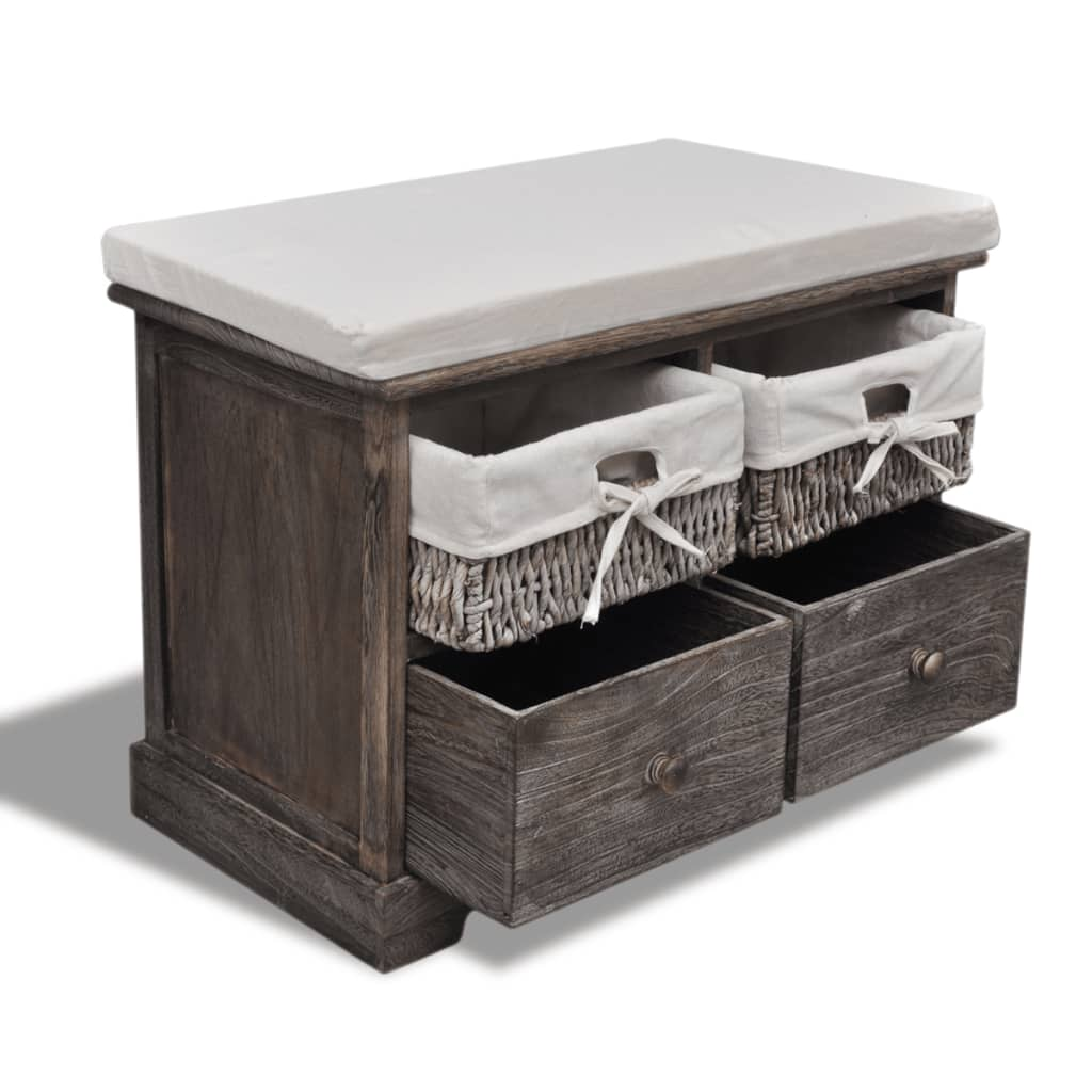 Wooden Storage Bench 2 Drawers With Top Cushion 2 Colours Available