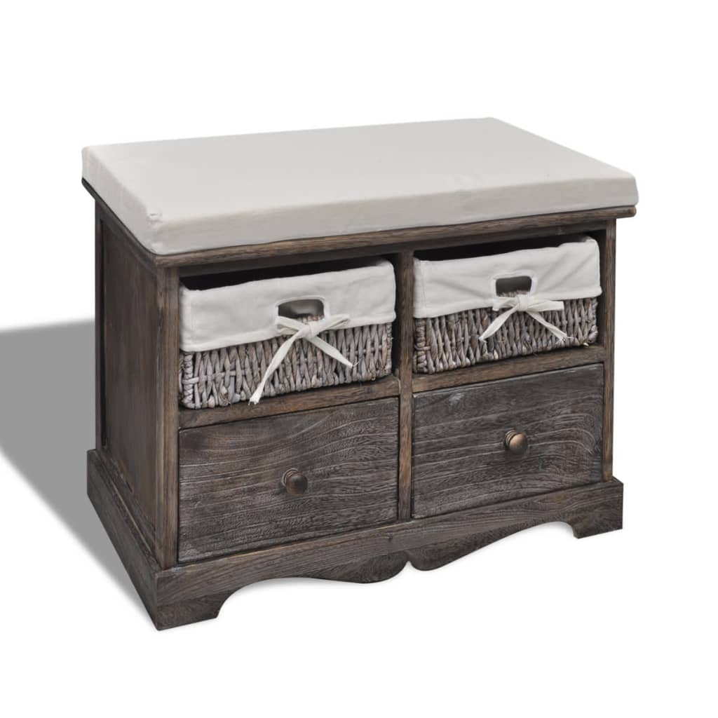 Wooden Storage Bench 2 Drawers With Top Cushion 2 Colours