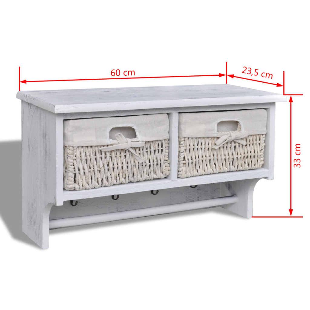 Estante de madera blanco con perchas 2 cestas de tejido 4 for Perchas con ganchos