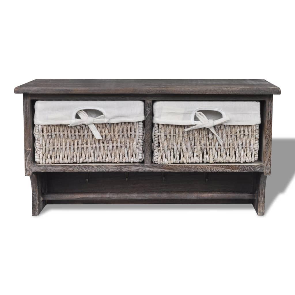 brown wooden wall shelf with hangers 2 weaving baskets 4 hooks. Black Bedroom Furniture Sets. Home Design Ideas