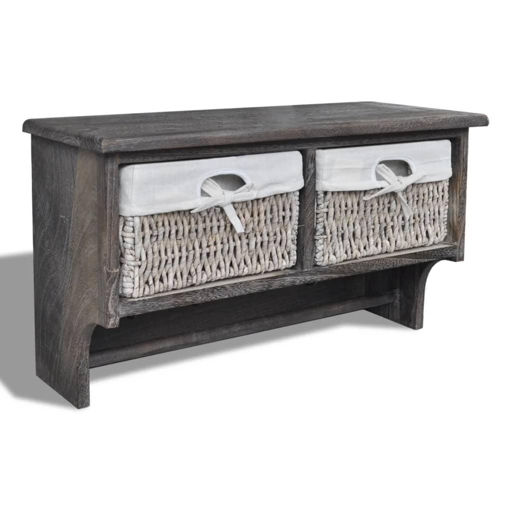 Estante de madera marr n con perchas 2 cestas de tejido 4 - Perchas de madera blancas ...