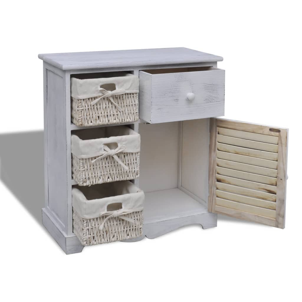 White wooden cabinet with 3 left weaving for Baskets for kitchen cabinets