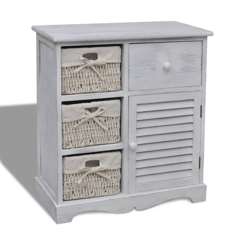 vidaXL Biała szafka drewniana z 3 wyplatanymi koszykami po lewej