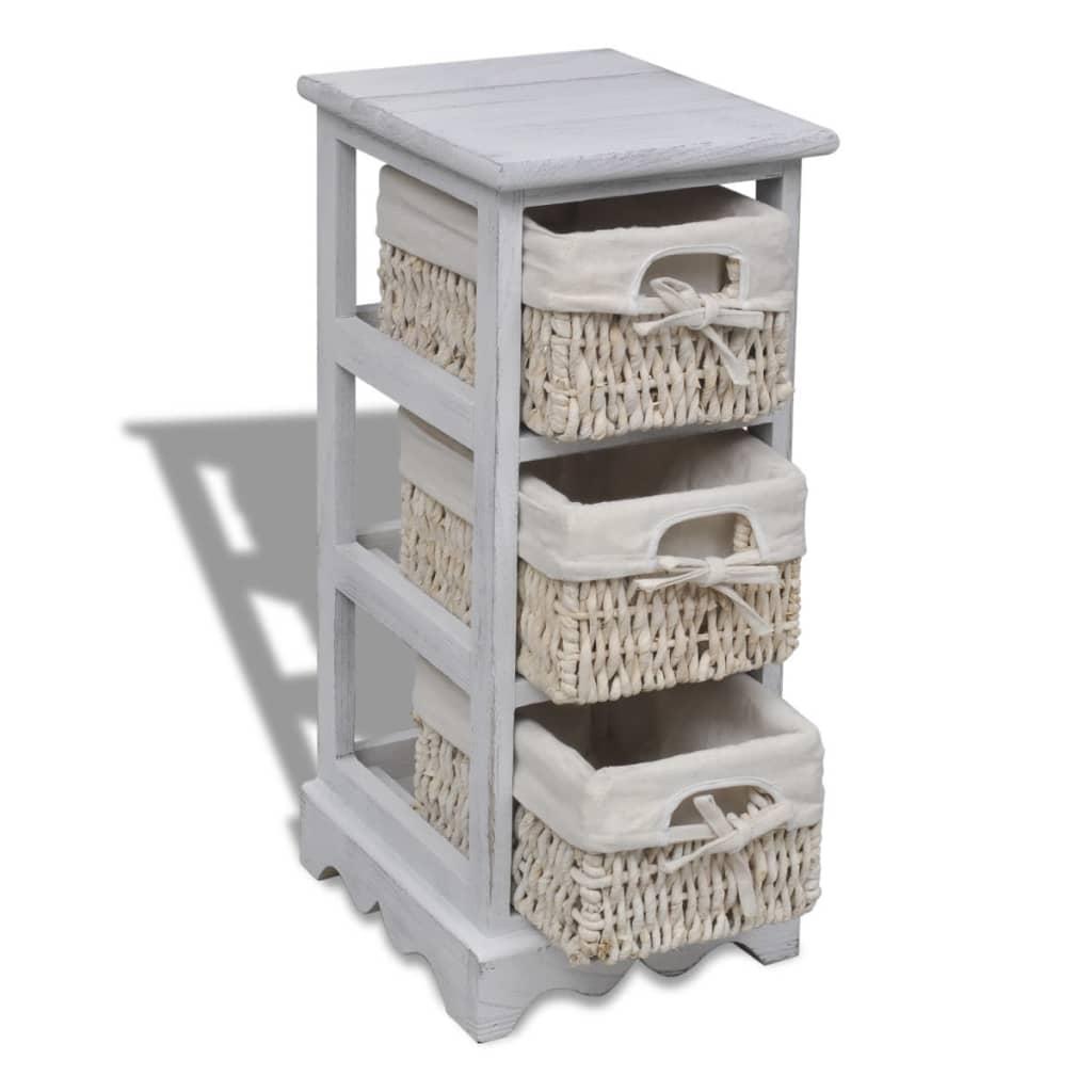 white wooden storage rack 3 weaving baskets. Black Bedroom Furniture Sets. Home Design Ideas