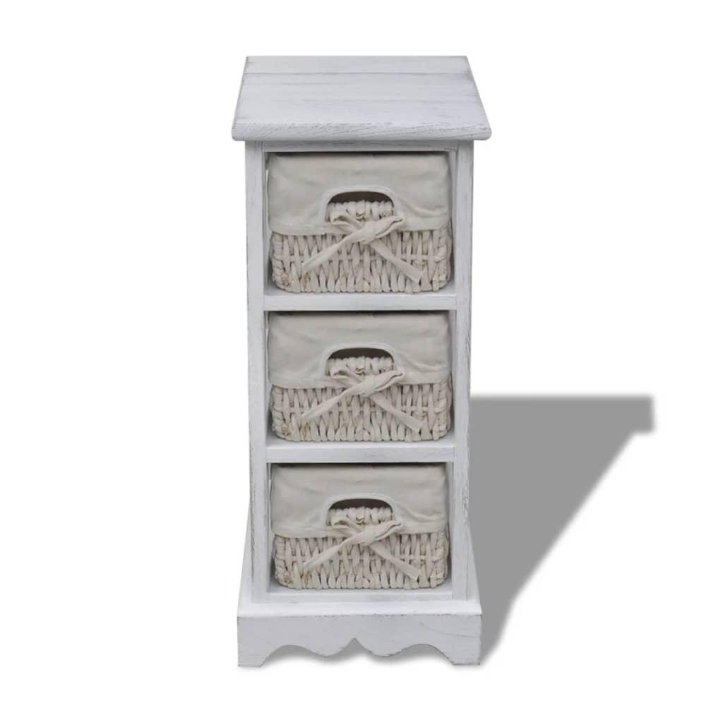 acheter chiffonnier en bois colonial blanc avec 3 paniers pas cher. Black Bedroom Furniture Sets. Home Design Ideas