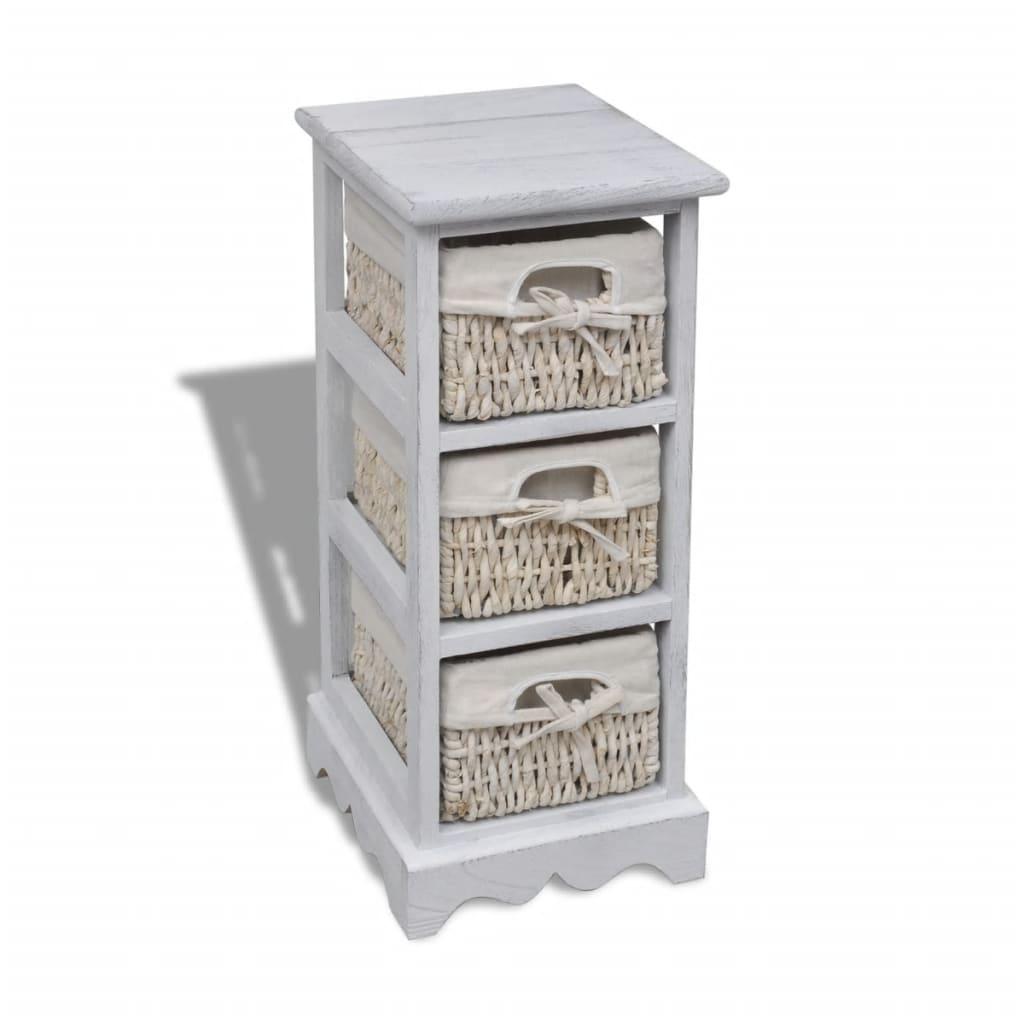 Cajonera blanca de madera con 3 cestas for Cajonera blanca barata