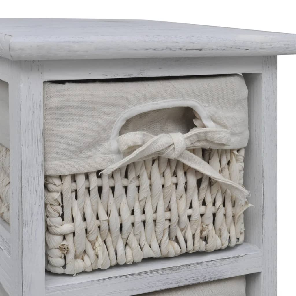 Wood Basket Weaving Supplies : Vidaxl white wooden storage rack weaving baskets