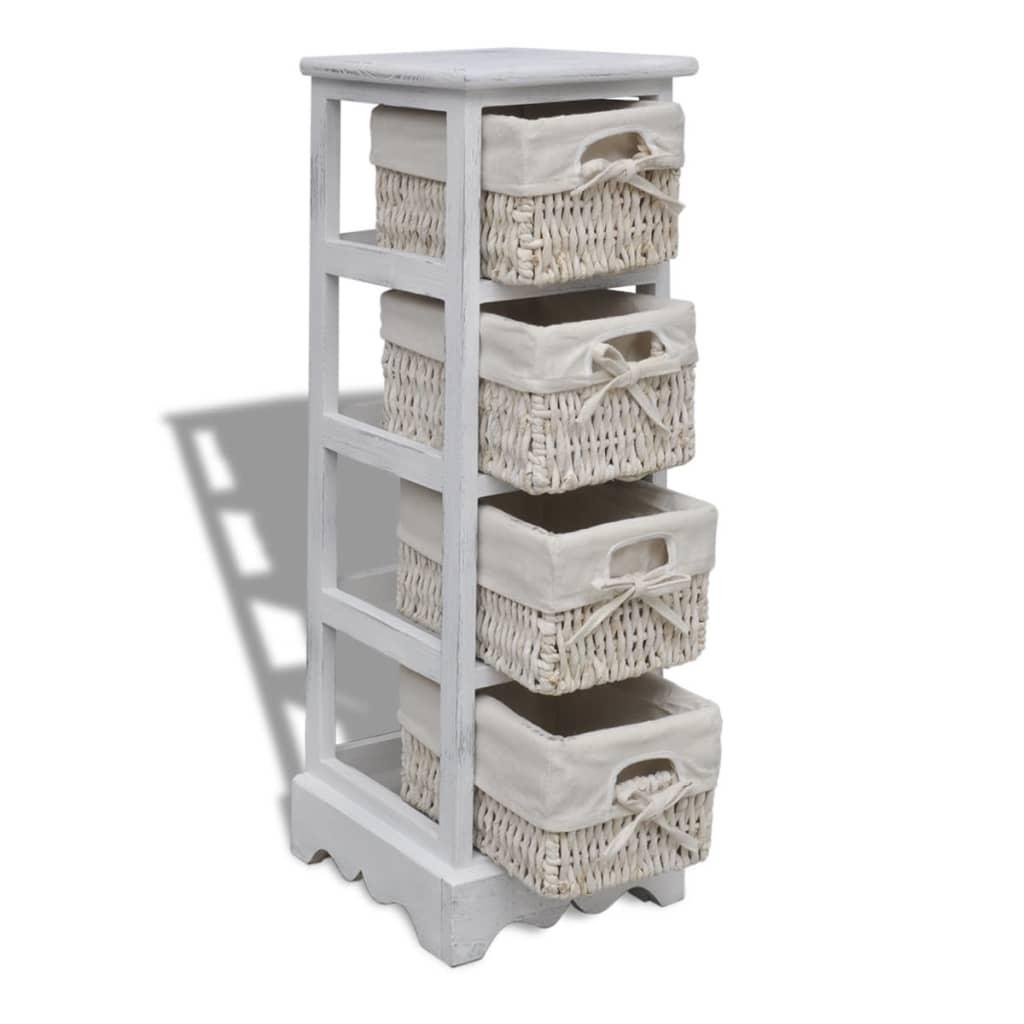 white wooden storage rack 4 weaving baskets. Black Bedroom Furniture Sets. Home Design Ideas