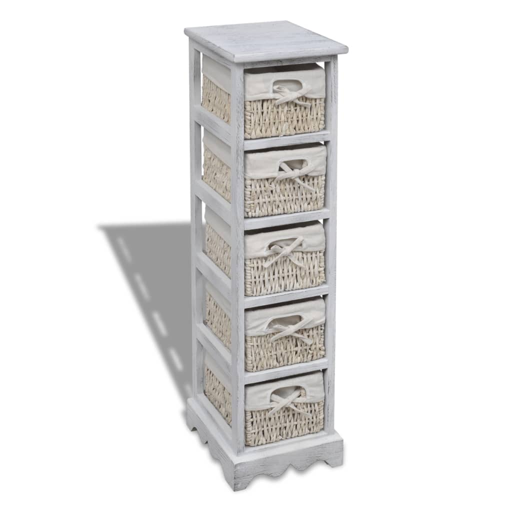 acheter chiffonnier en bois colonial blanc avec 5 paniers. Black Bedroom Furniture Sets. Home Design Ideas
