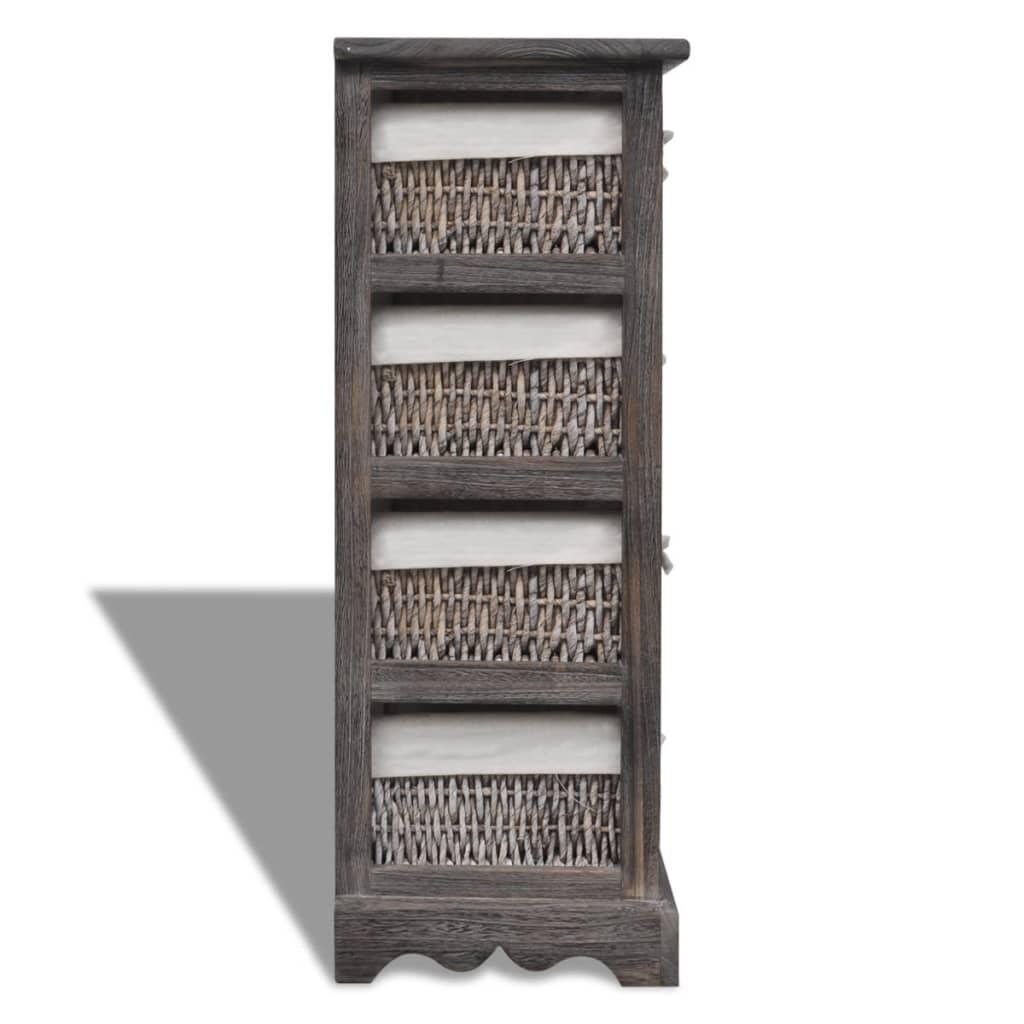 brown wooden storage rack 4 weaving baskets. Black Bedroom Furniture Sets. Home Design Ideas