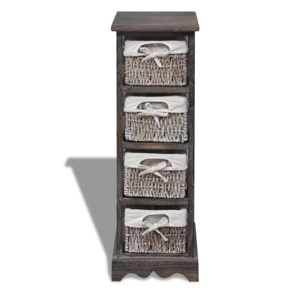 schrank korbkommode regal 4 warenk rben holz braun g nstig kaufen. Black Bedroom Furniture Sets. Home Design Ideas