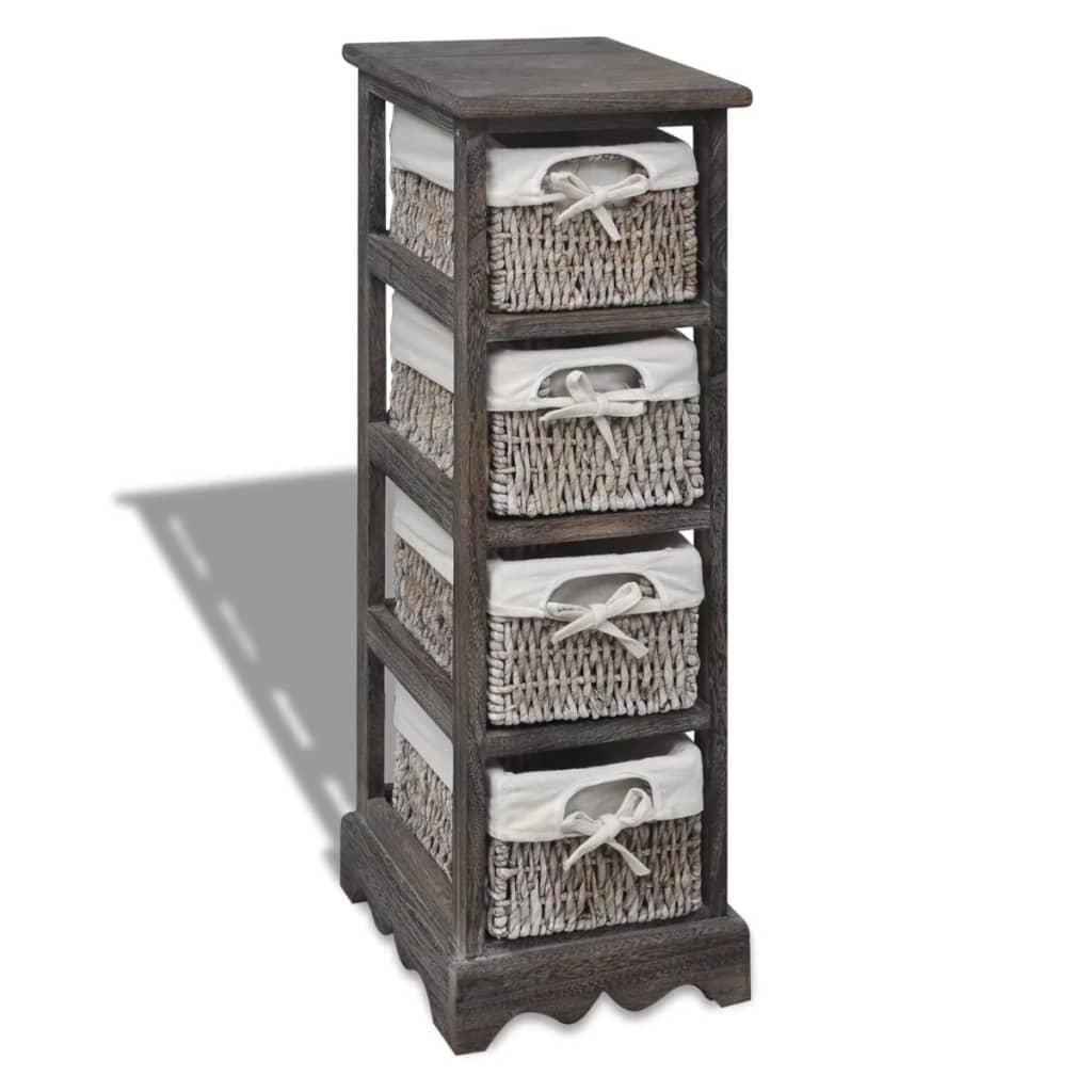 vidaXL Drewniana szafka z 4 koszykami, brązowa