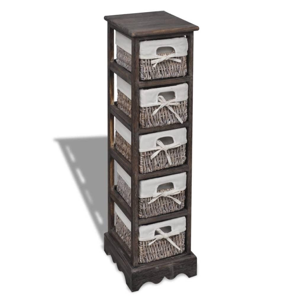 brown wooden storage rack 5 weaving baskets. Black Bedroom Furniture Sets. Home Design Ideas