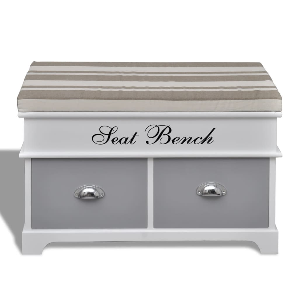 White Storage Entryway Bench With Grey Cushion Top 2
