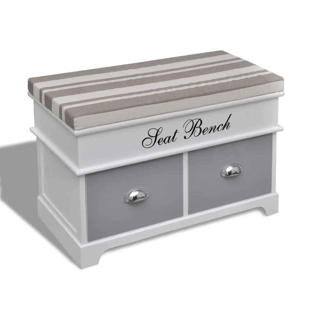 Banco ba l de madera y cojin gris con cajones tienda - Banco baul madera ...