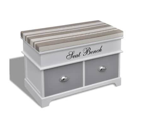 White Storage Entryway Bench With Grey Cushion Top 2 Drawer