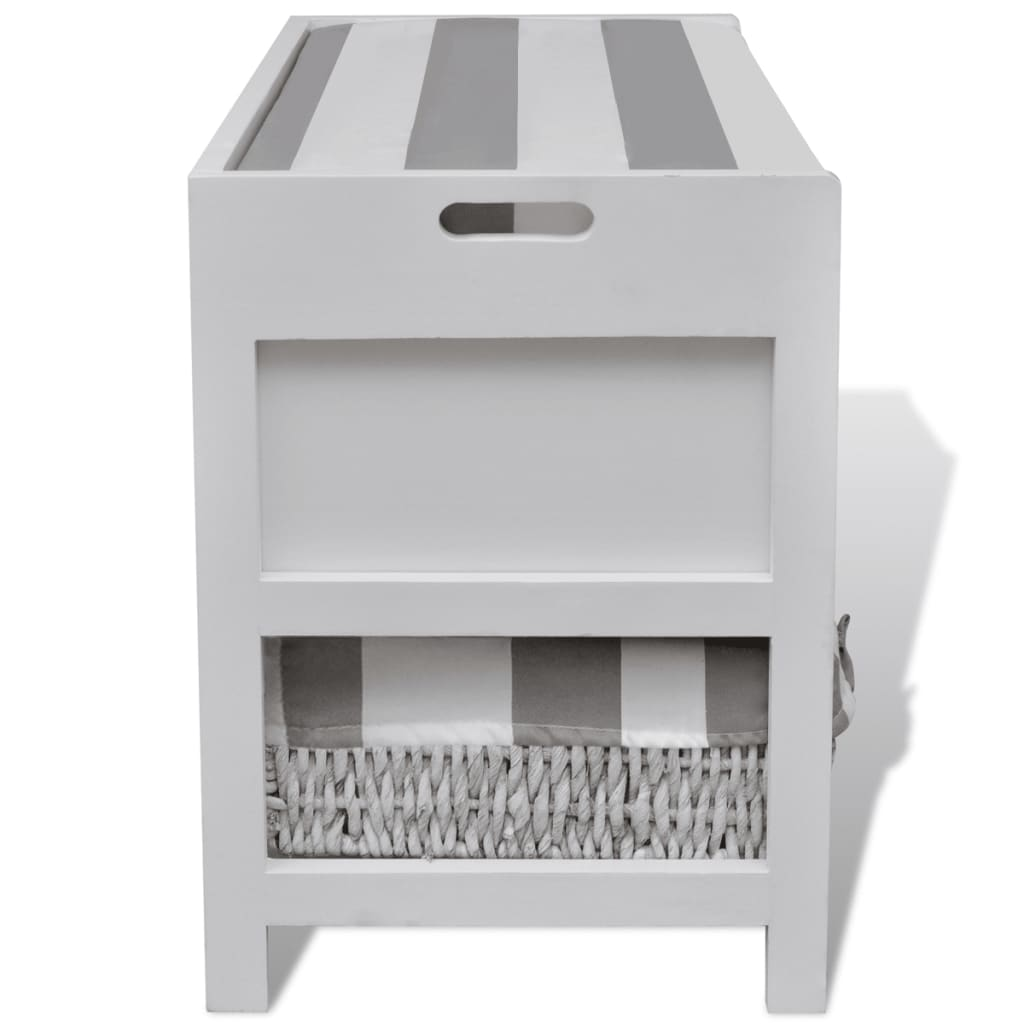 White Storage Entryway Bench With Cushion Top 2 Drawer 2 Basket