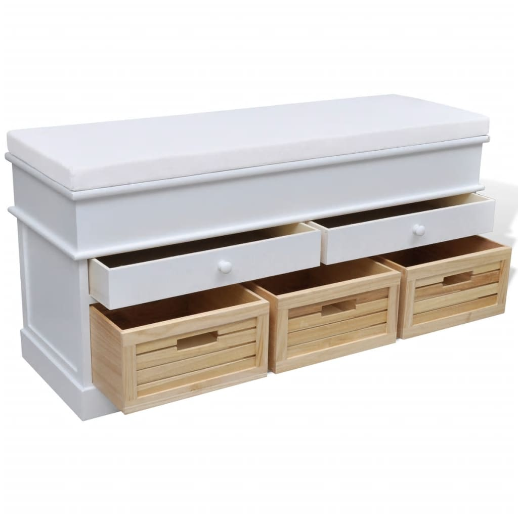 White storage entryway bench with cushion top 2 draw 3 crate Storage bench with cushion