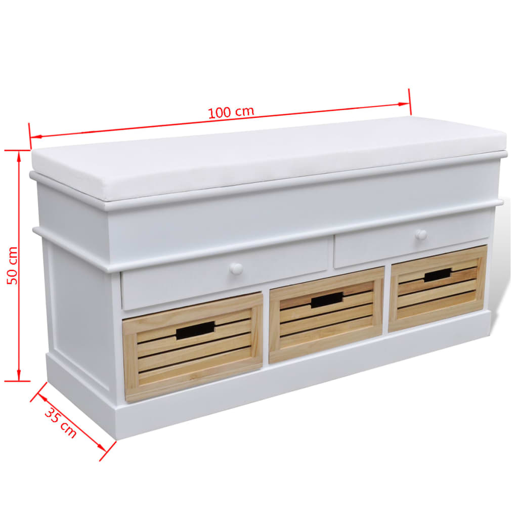 banc de rangement avec 3 cagettes et 2 tiroirs coussin inclus. Black Bedroom Furniture Sets. Home Design Ideas