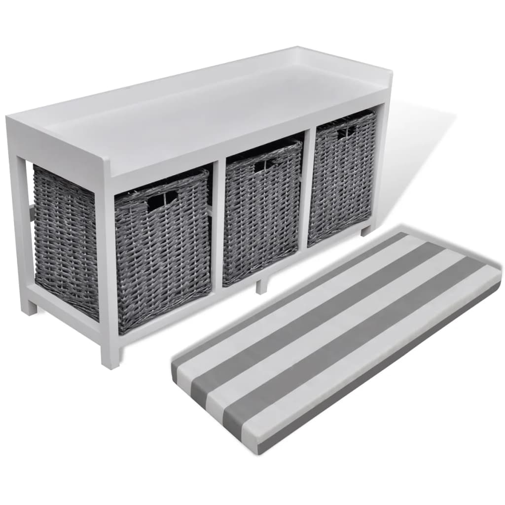 White storage entryway bench with cushion top 3 basket Storage bench with cushion