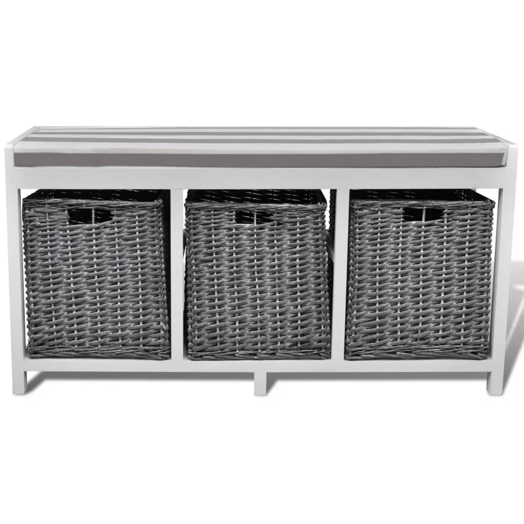 White Storage Entryway Bench With Cushion Top 3 Basket