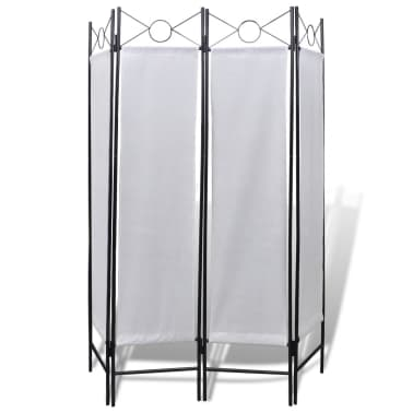 4-Panel Room Divider Privacy Folding Screen White 5