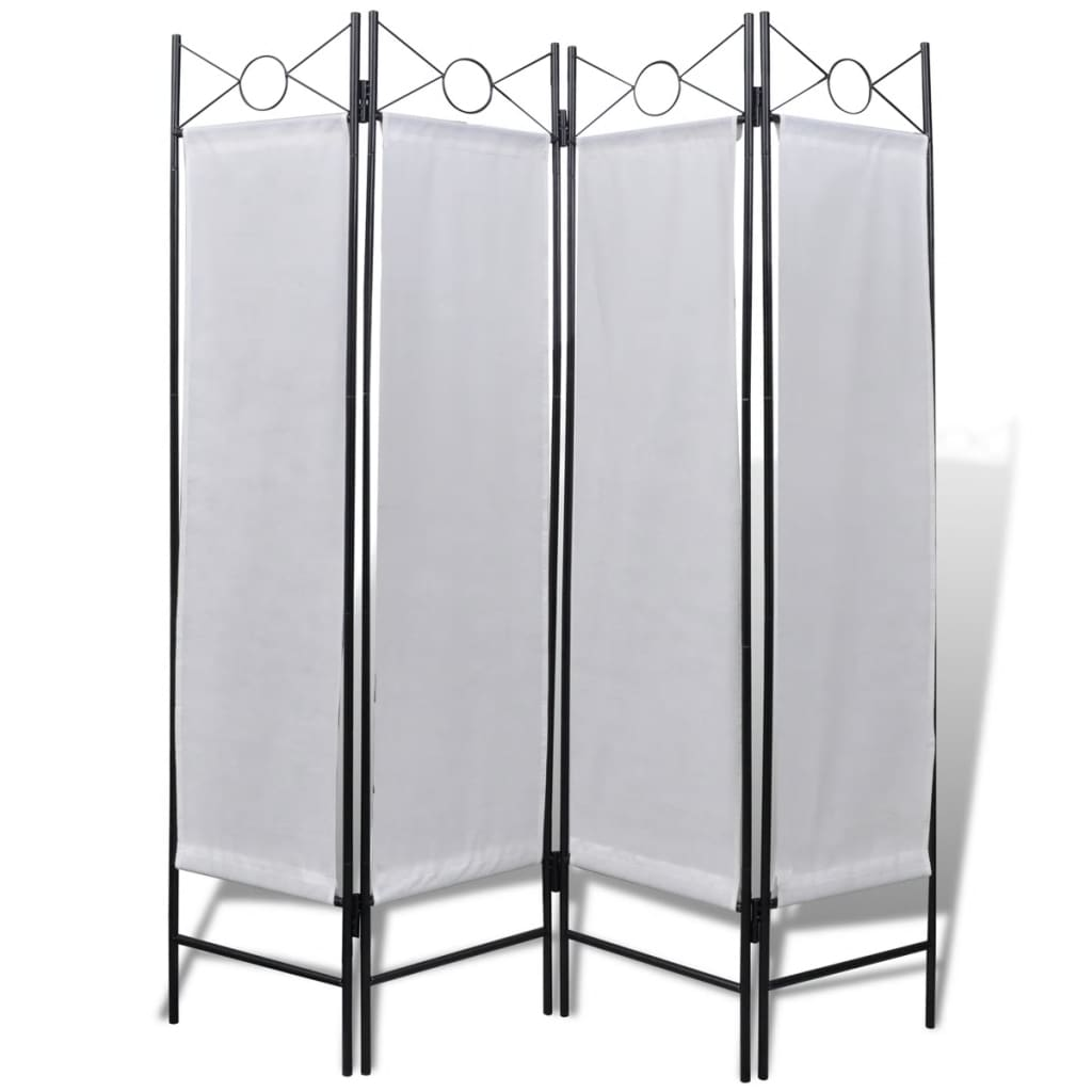 4 panel room divider privacy folding screen white 5 39 3 x for Four panel room divider screen