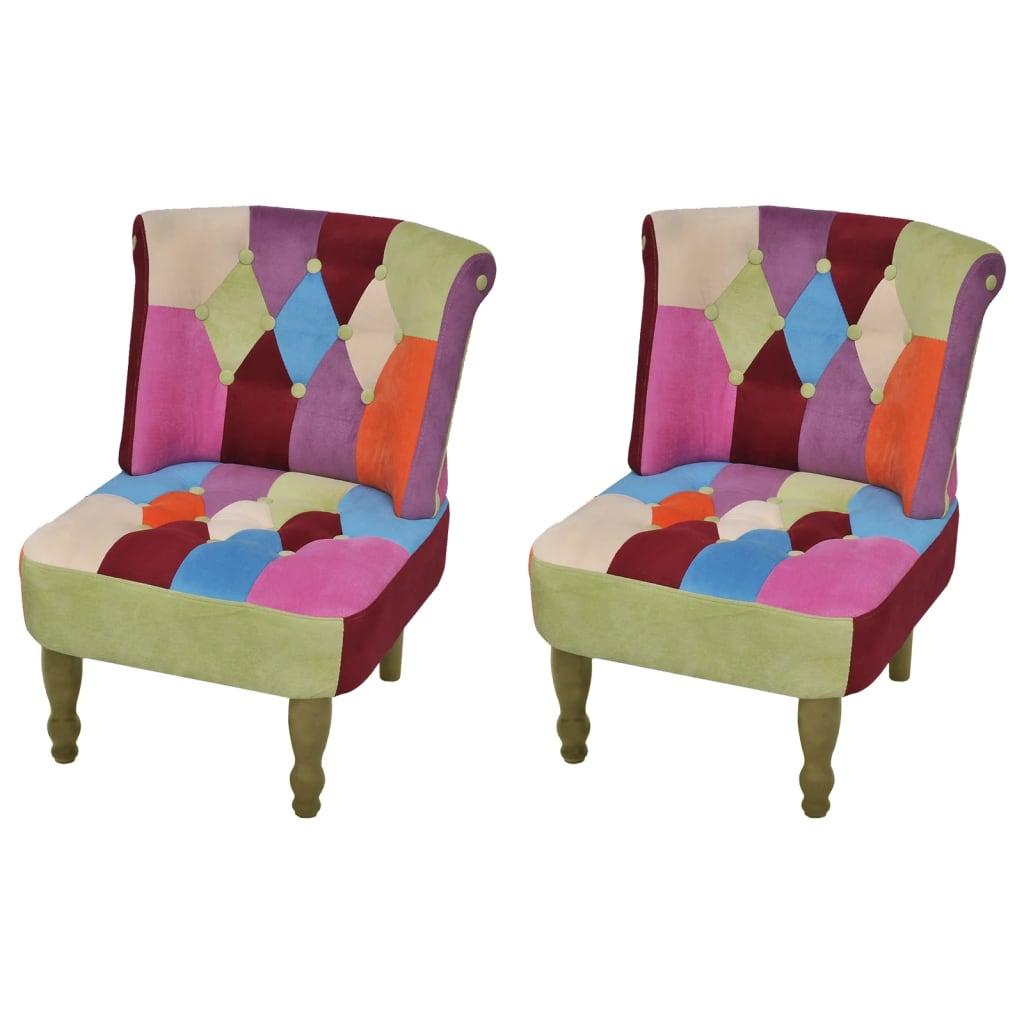 vidaXL 2 db foltvarrott dizájnú, karfa nélküli francia fotel
