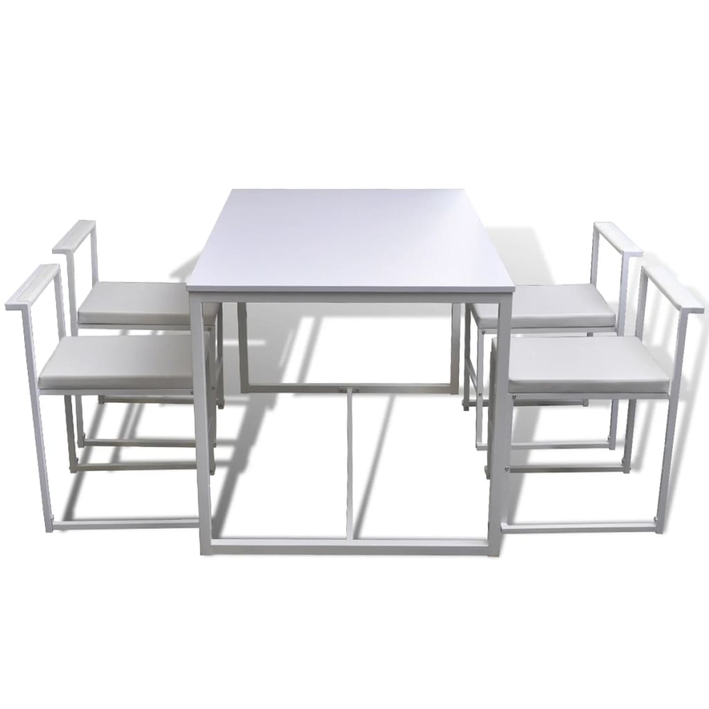 Dining table set 1 table 4 chairs white for Table 4 en 1