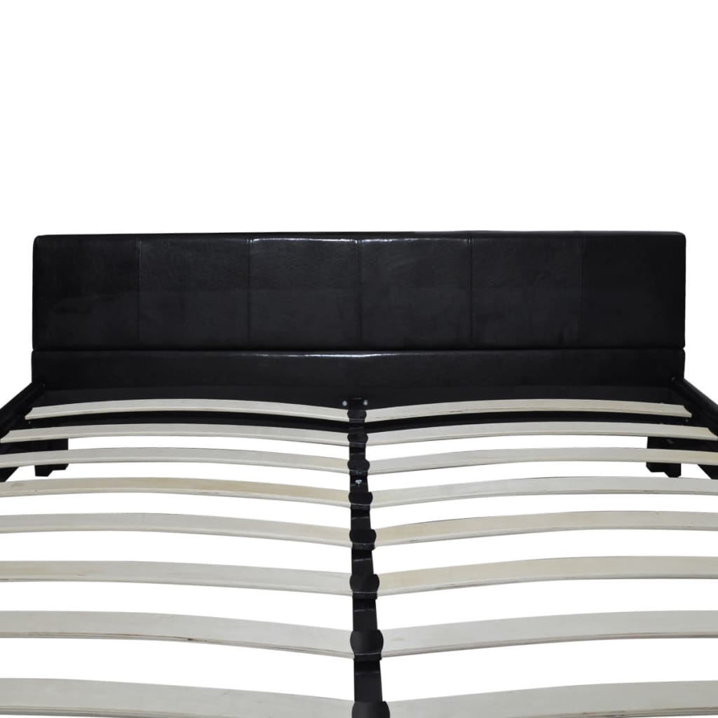 la boutique en ligne lit en faux cuir 180 x 200 cm noir. Black Bedroom Furniture Sets. Home Design Ideas