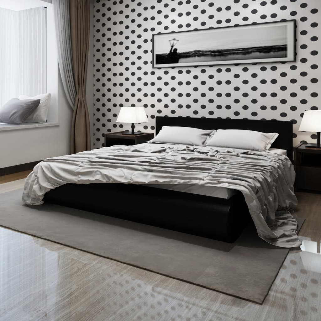 acheter lit en similicuir 180 x 200 cm noir pas cher. Black Bedroom Furniture Sets. Home Design Ideas