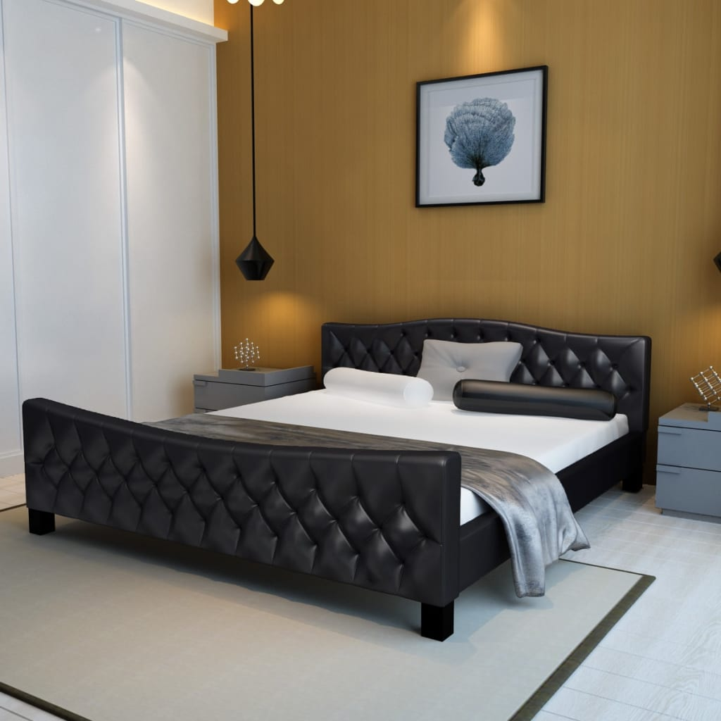 lit double en simili cuir capitonn sans matelas cadres de lit ebay. Black Bedroom Furniture Sets. Home Design Ideas
