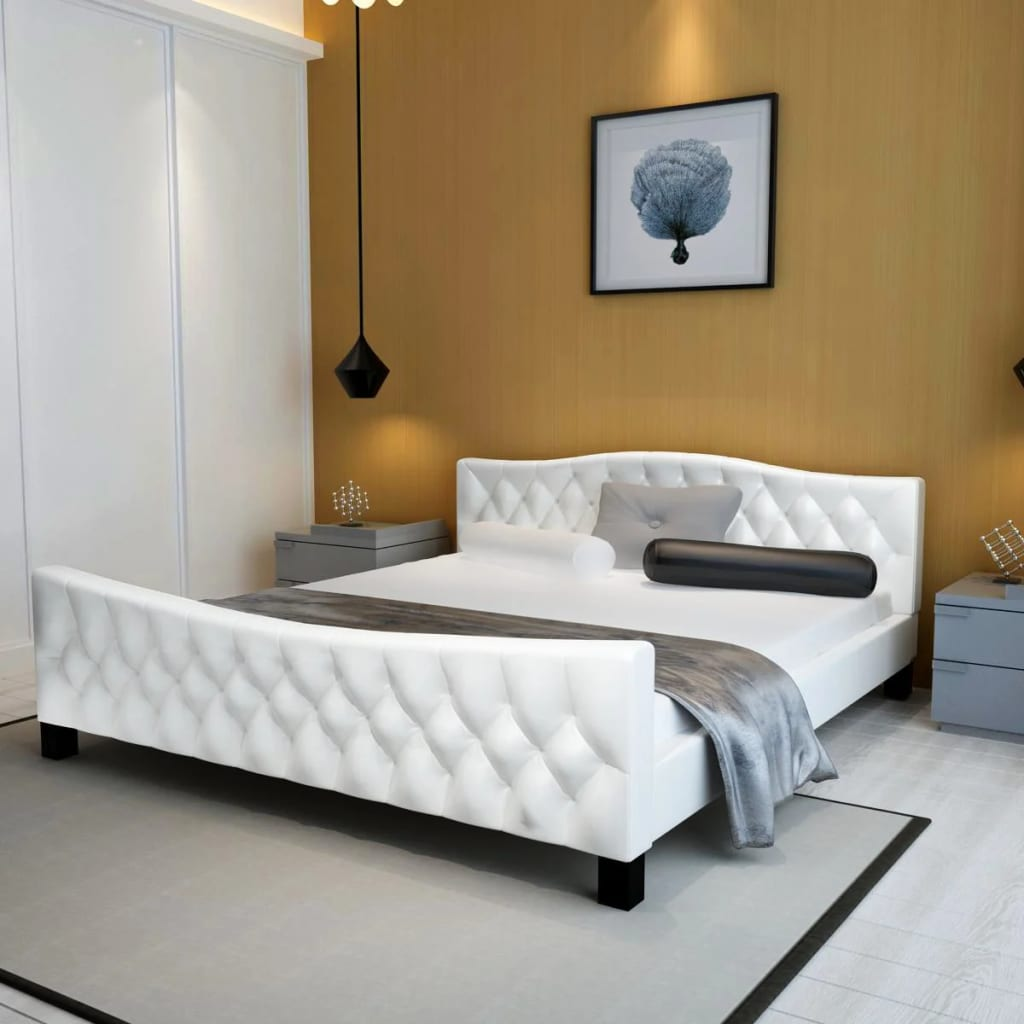 acheter luxueux lit en similicuir 180 x 200 cm blanc pas. Black Bedroom Furniture Sets. Home Design Ideas