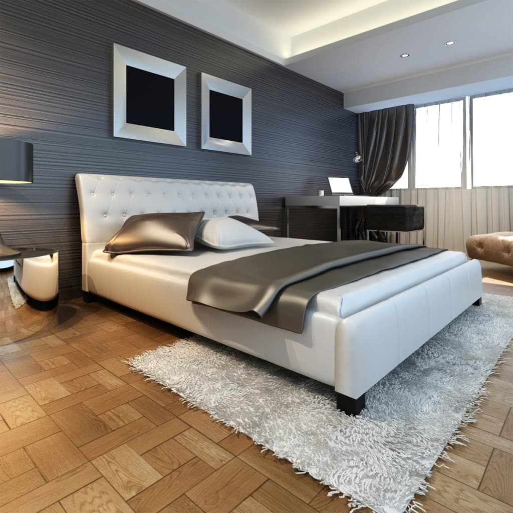 luxus kunstlederbett 180x200cm lattenrost kunstleder bett lattenrahmen rahmen ebay. Black Bedroom Furniture Sets. Home Design Ideas