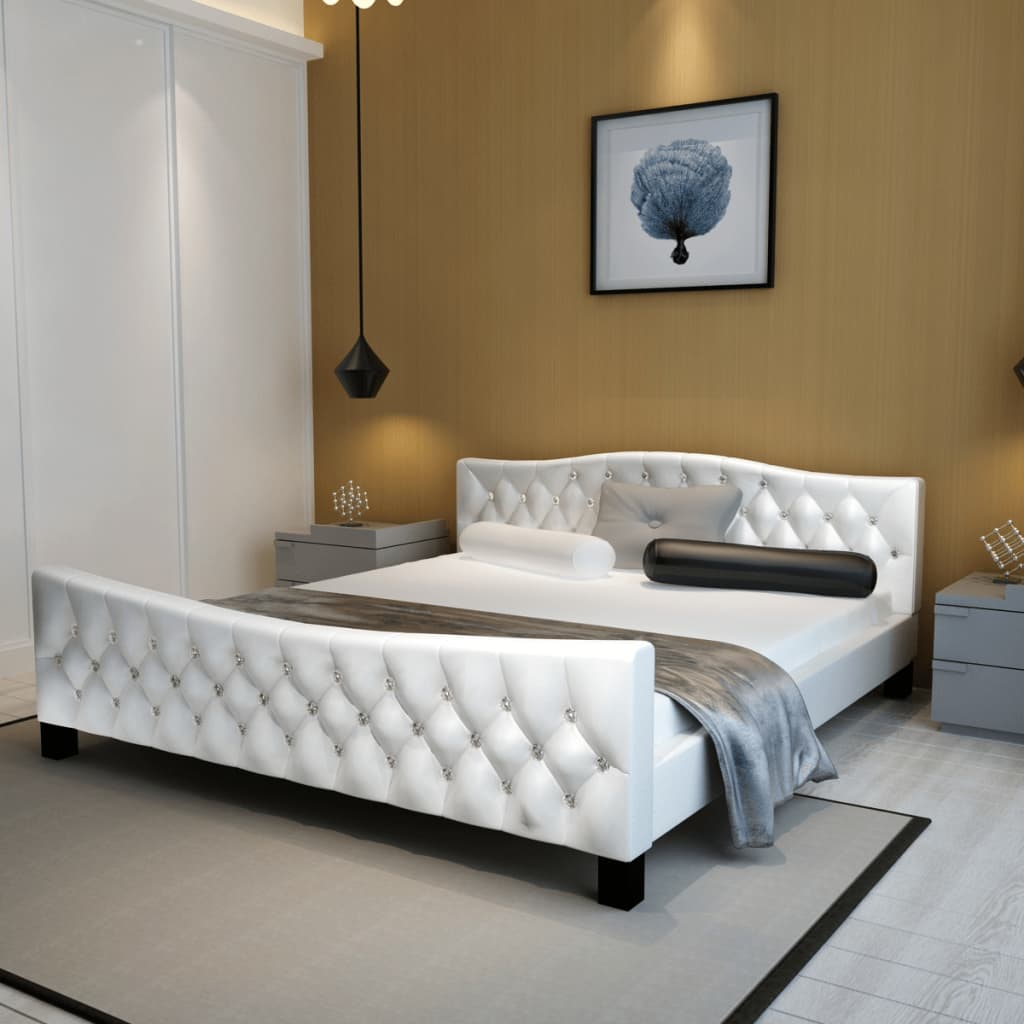 hochglanz bett ehebett kunstlederbett 180 x 200 cm wei im vidaxl trendshop. Black Bedroom Furniture Sets. Home Design Ideas