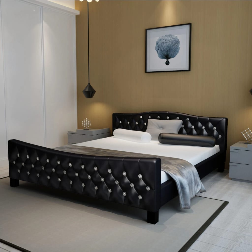 la boutique en ligne lit en simili cuir avec boutons en cristal acrylique 180x 200cm noir. Black Bedroom Furniture Sets. Home Design Ideas