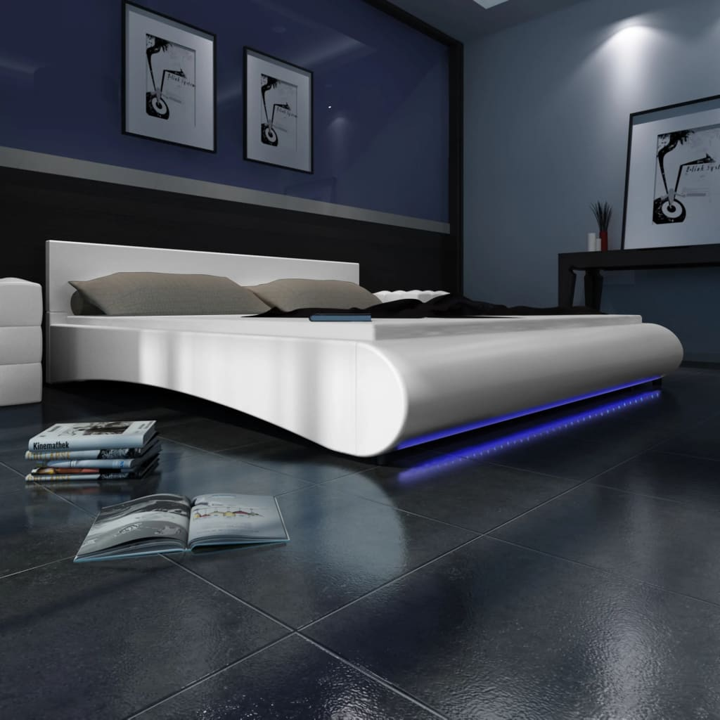 acheter lit en similicuir avec t te de lit led 140 200 cm blanc pas cher. Black Bedroom Furniture Sets. Home Design Ideas